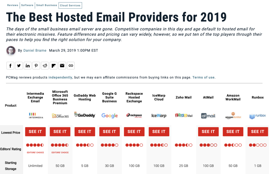 pc magazine review of the top ten email hosting platforms