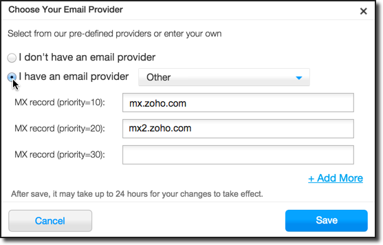 The domain record panel at a popular domain registrar with the MX record section shown to highlight what changes need to be made when setting up email hosting